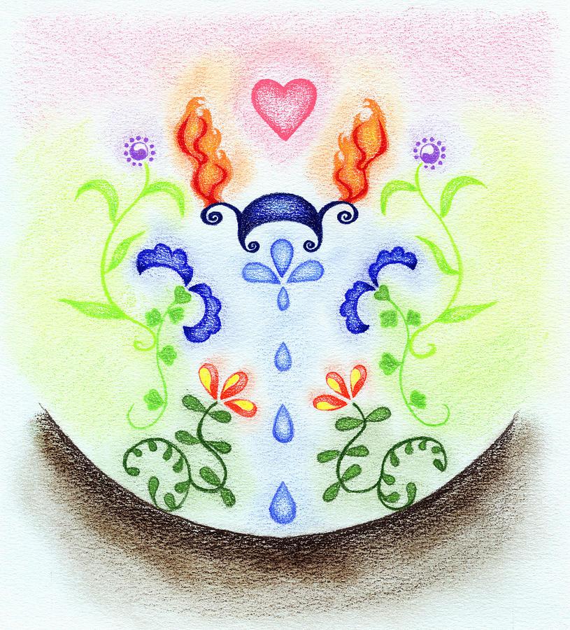 Five Elements Drawing - Elements by Keiko Katsuta