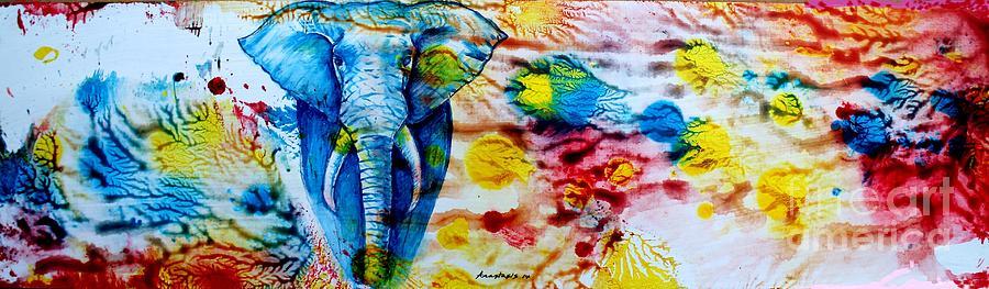 Elephant Painting - Elepant Abstract by Anastasis  Anastasi