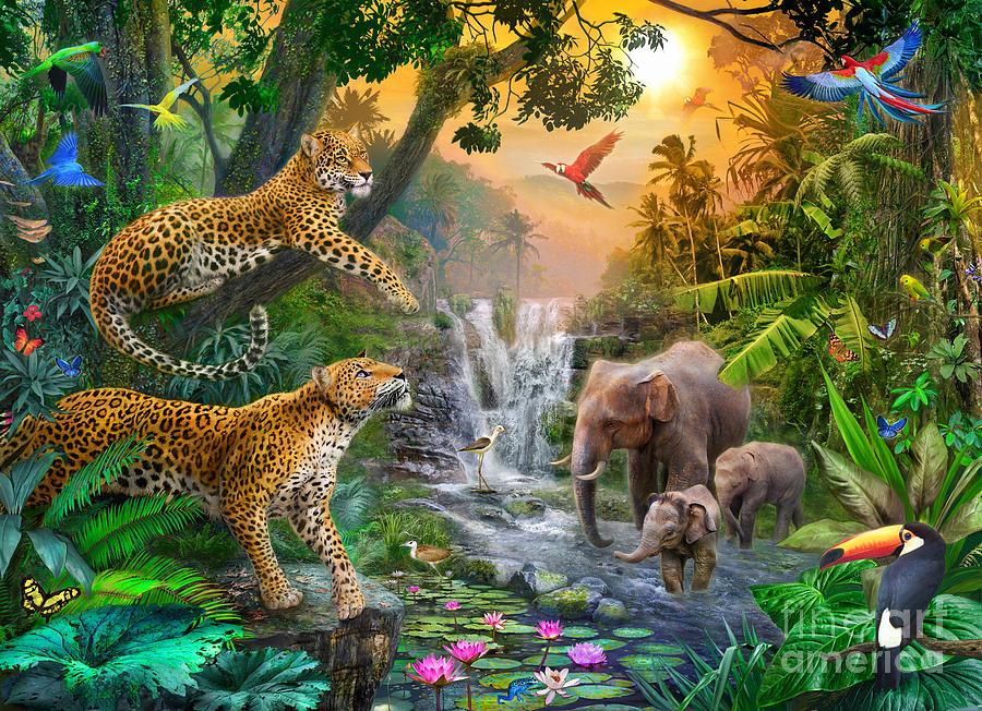 Elephant Digital Art - Elephant Falls by Jan Patrik Krasny