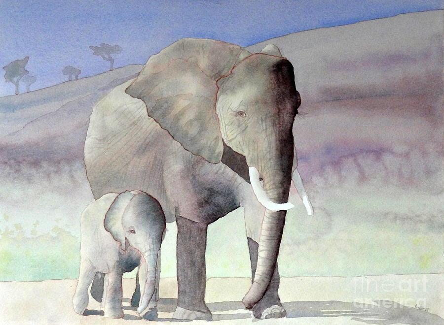 Landscape Painting - Elephant Family by Laurel Best