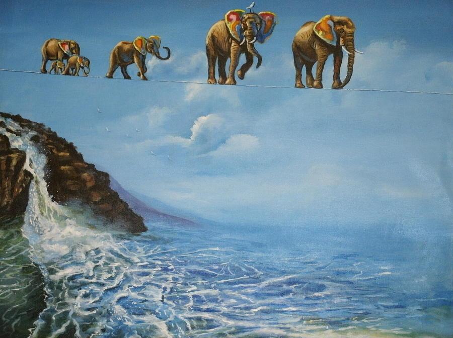 Elephants Painting - Elephant Family On A Tightrope by Barbara Gray