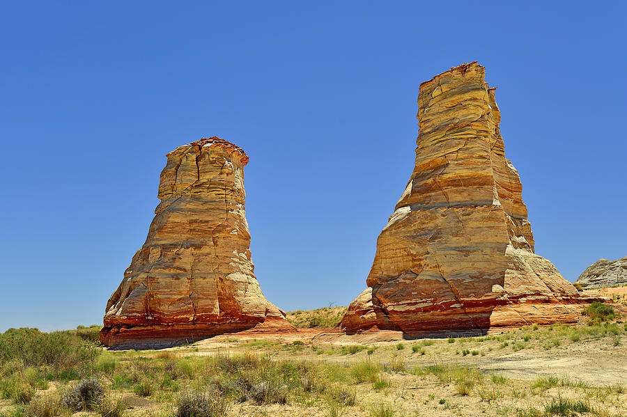 Painted Photograph - Elephant Feet Rocks Arizona by Christine Till