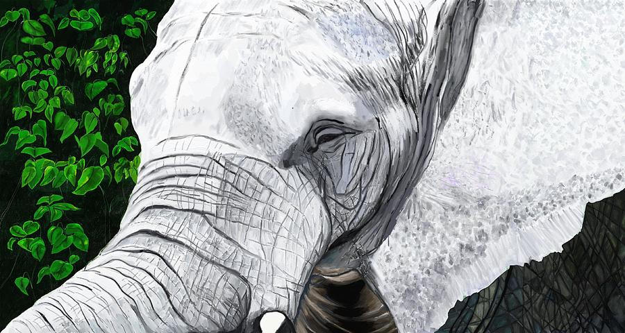 Elephant Painting - Elephant II by Jeanne Fischer