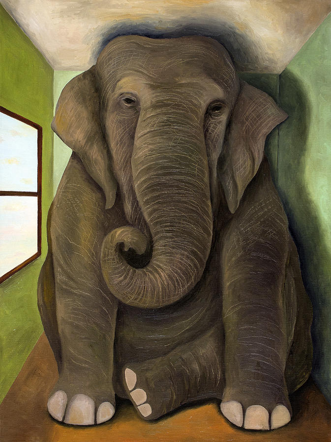 Elephant Painting - Elephant In The Room Wip by Leah Saulnier The Painting Maniac