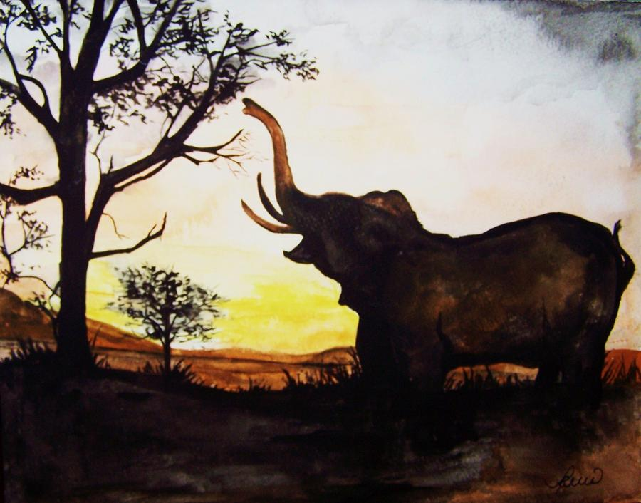 Elephant Painting - Elephant by Laneea Tolley