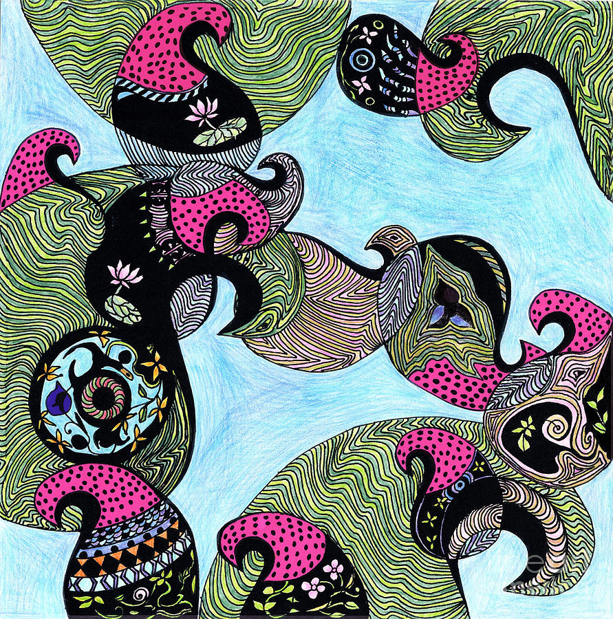 Elephant Drawing - Elephant Lotus And Bird Design by Mukta Gupta