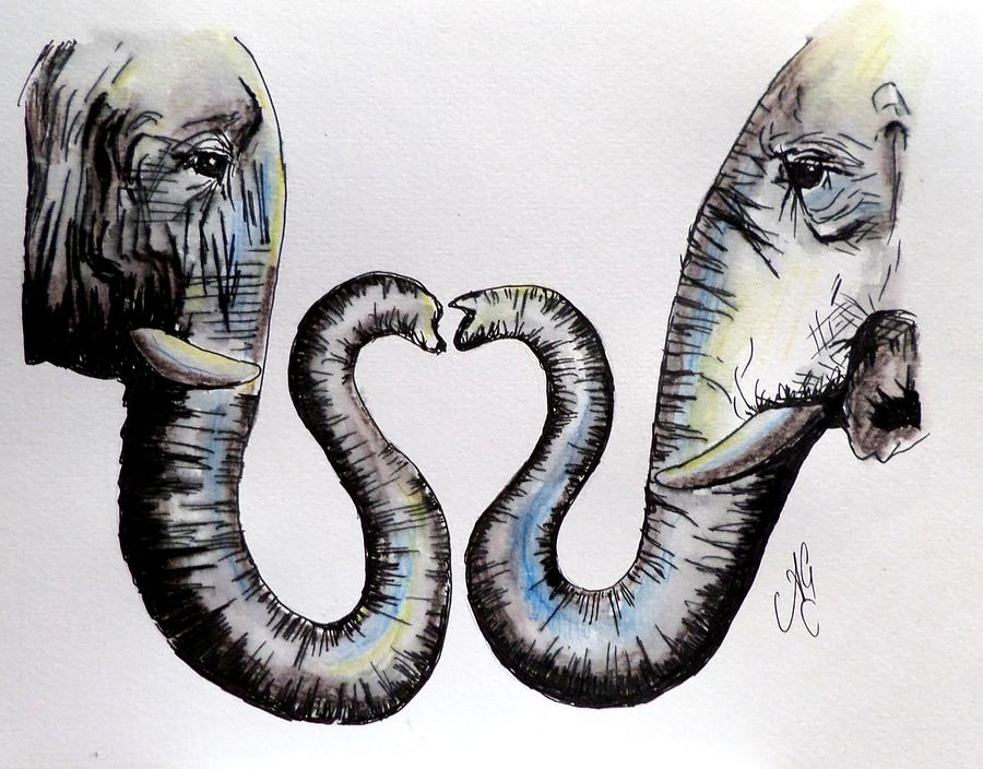 Elephant Love Painting by Anne Gardner - photo#38