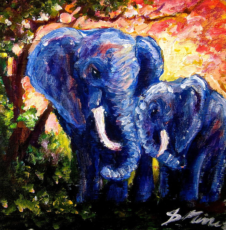 Elephant Painting - Elephant Mother Andduaghter by Sebastian Pierre