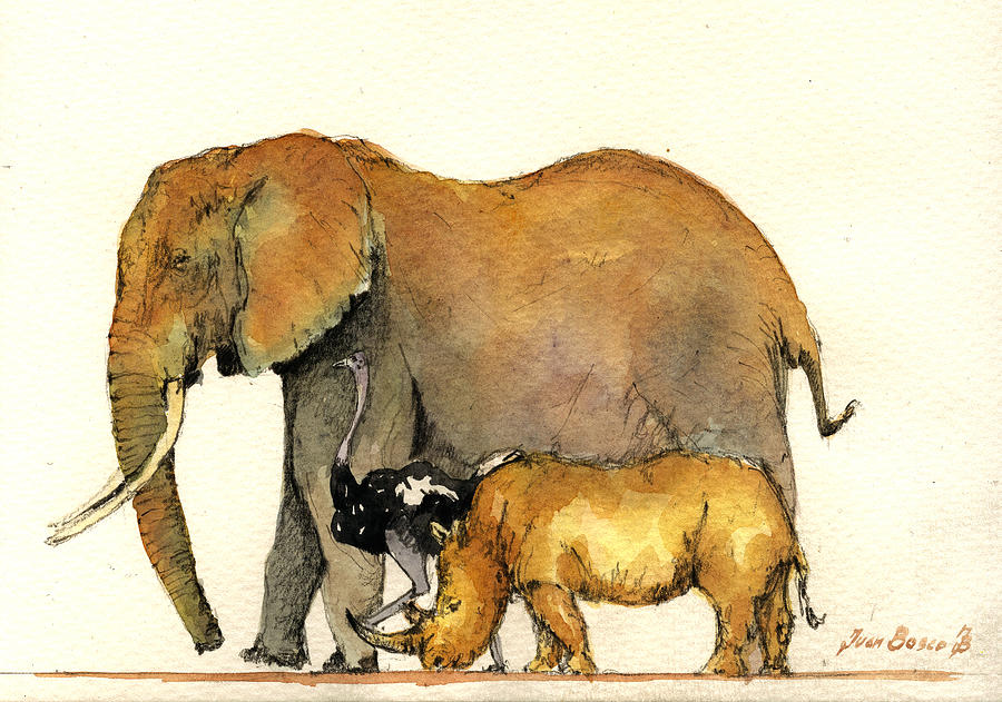 Elephant Painting - Elephant ostrich and rhino by Juan  Bosco