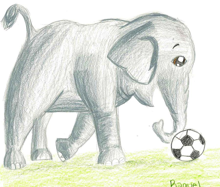 Elephant Drawing - Elephant Playing Soccer by Raquel Chaupiz