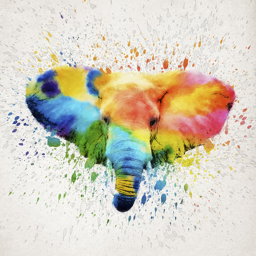 Elephant Drawing - Elephant Splash by Aged Pixel