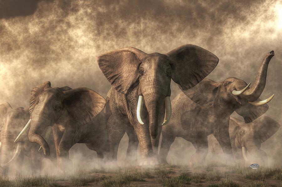Elephant Stampede Digital Art
