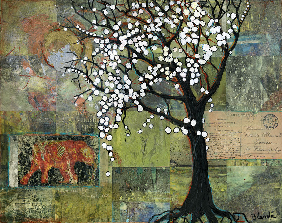 Trees Painting - Elephant Under A Tree by Blenda Studio