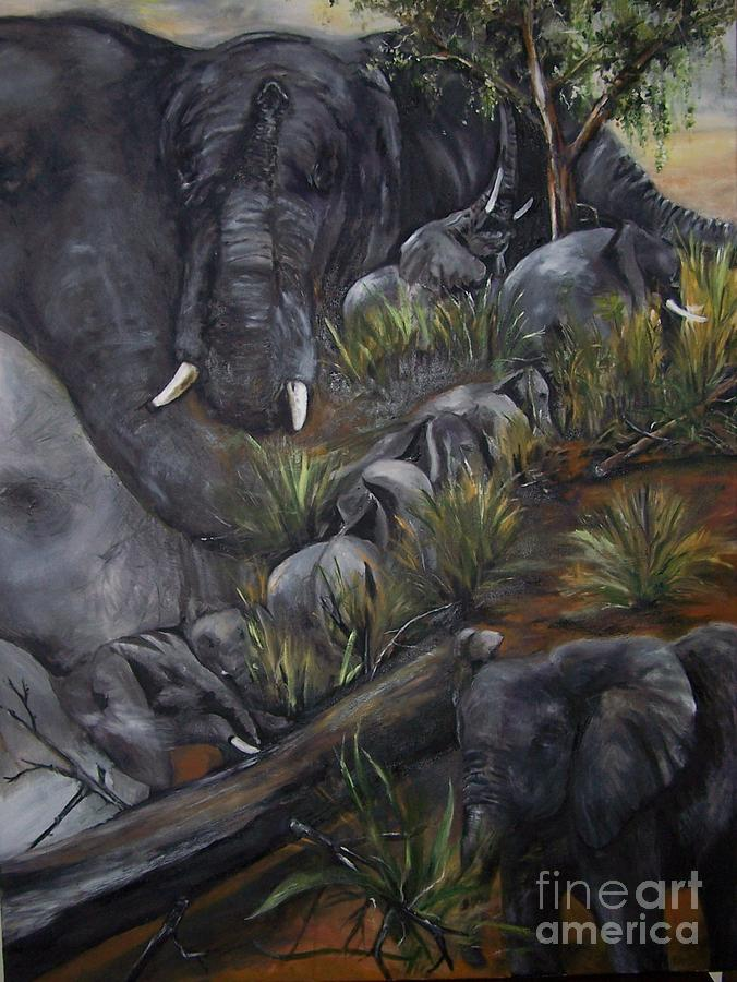 Elephant Painting - Elephant  Walk by Laneea Tolley