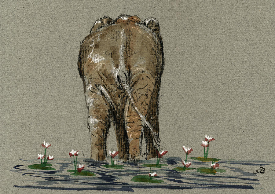 Water Painting - Elephant with water lilies by Juan  Bosco