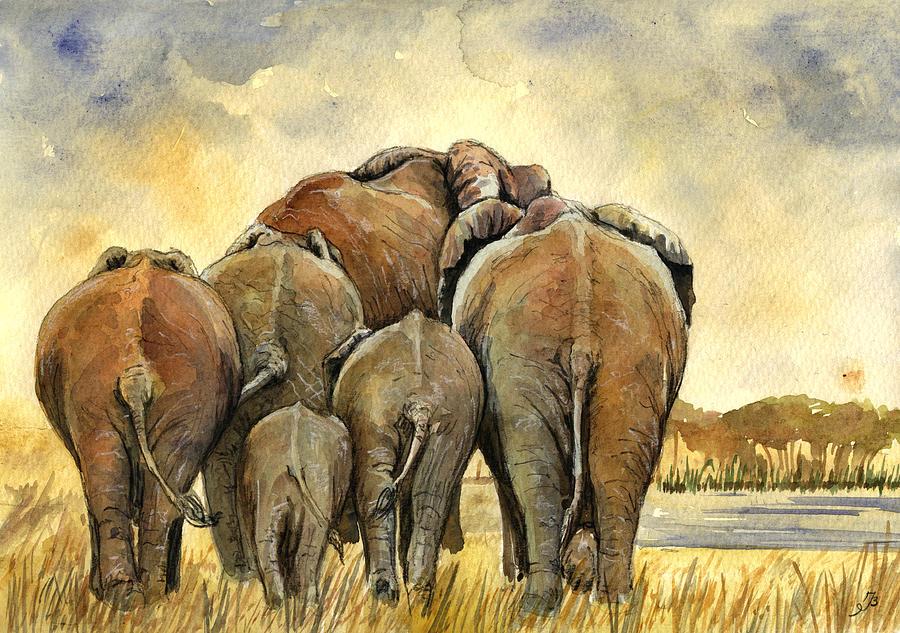 Herd Painting - Elephants herd by Juan  Bosco