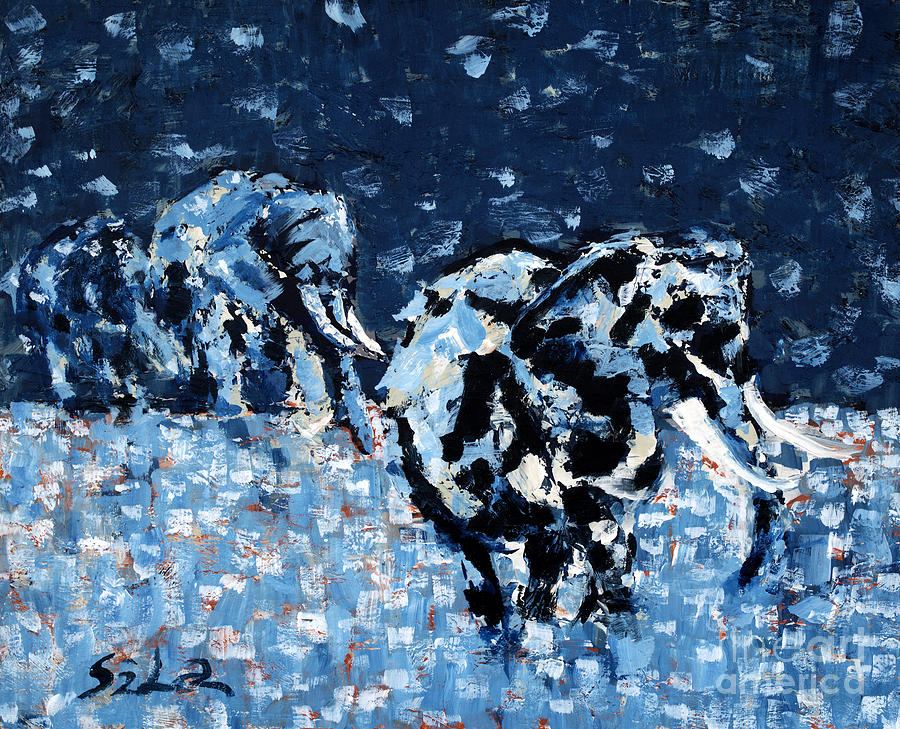 Wild Animals Painting - Elephants by Lidija Ivanek - SiLa