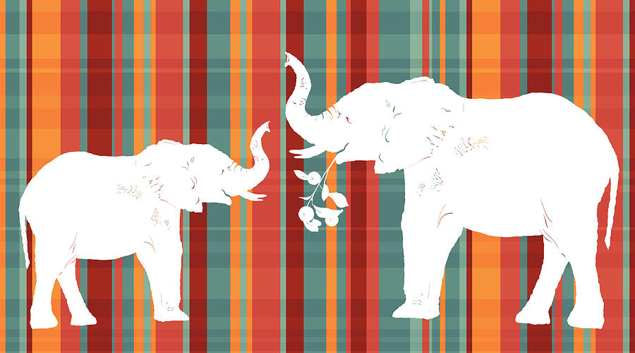 Animals Painting - Elephants Share by Alison Schmidt Carson
