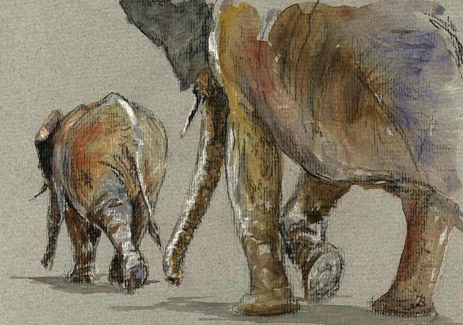 Walking Painting - Elephants walking by Juan  Bosco