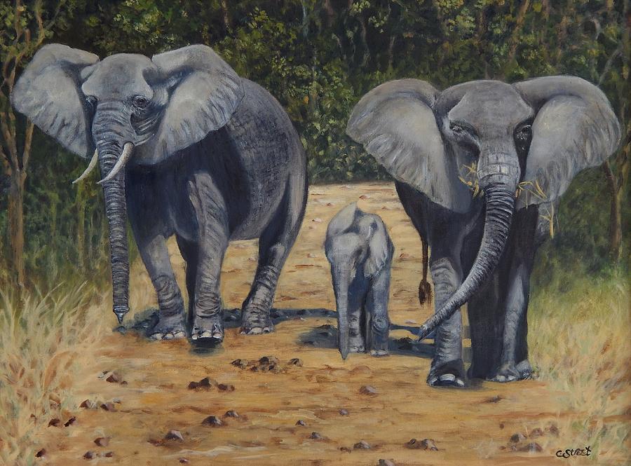 Elephant Painting - Elephants With Calf by Caroline Street