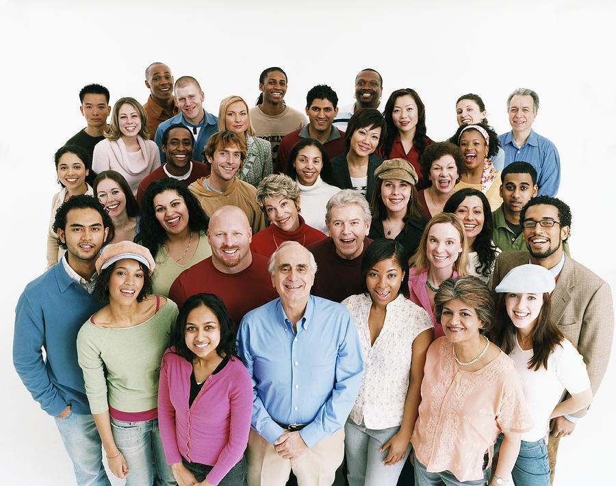 Elevated Studio Shot of a Large Mixed Age, Multiethnic Crowd of Men and Women Photograph by Digital Vision.