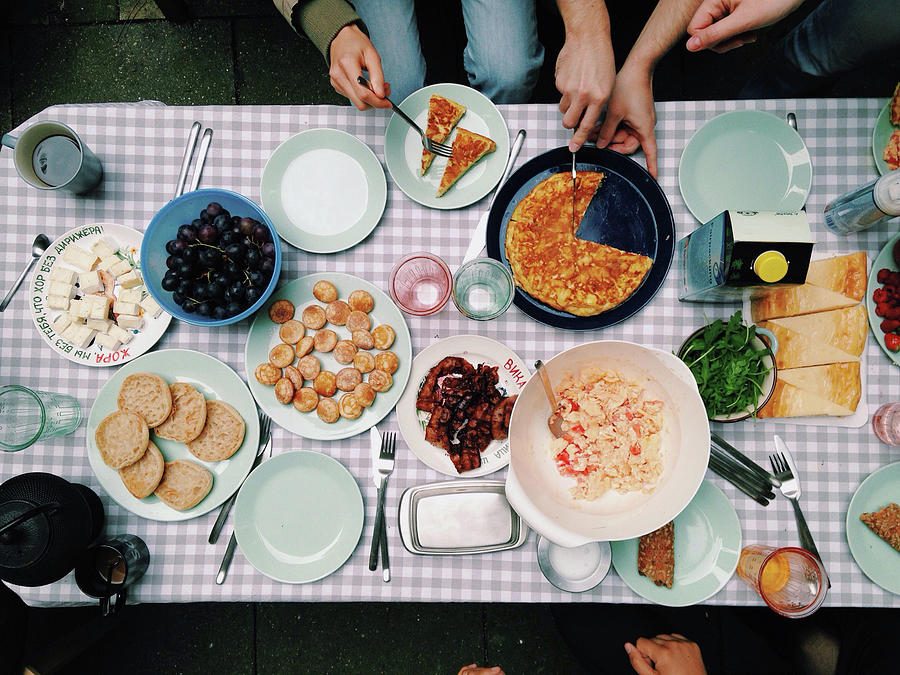 Elevated View Of A Variety Of Meals Photograph by Kirsty Lee / Eyeem