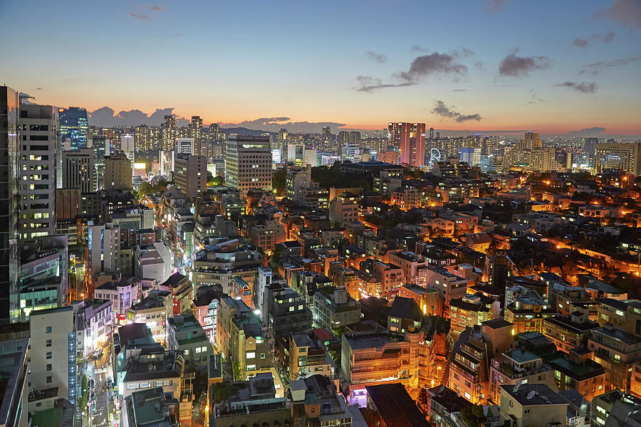Elevated View Of Gangnam Illuminated At Photograph by Allan Baxter