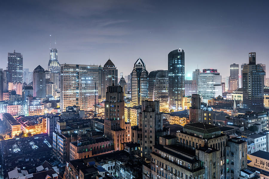 Elevated View Of Shanghai Skyline At Photograph by Yongyuan Dai