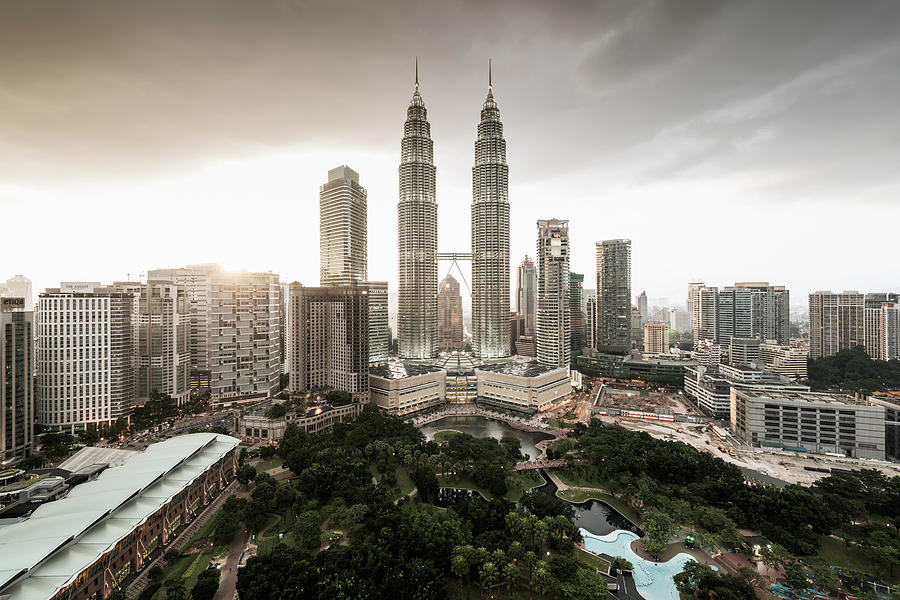 Elevated View Of The Petronas Towers At Photograph by Martin Puddy