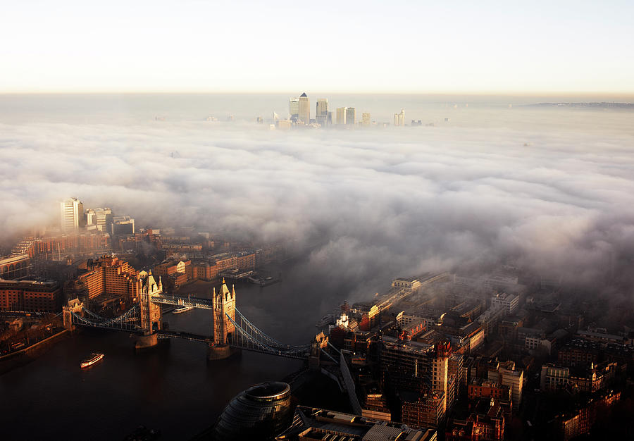 Spooky Photograph - Elevated View Over London Shrouded In by Gary Yeowell