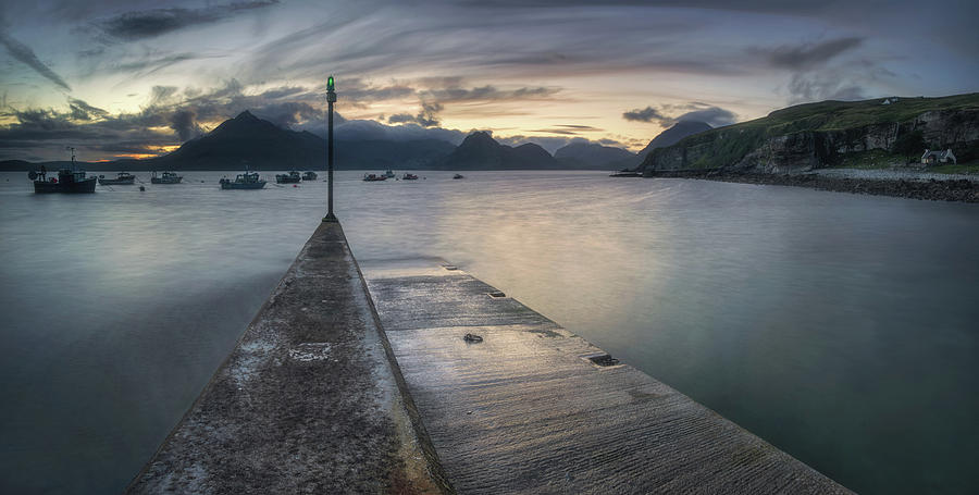 Horizontal Photograph - Elgol Pier And Boats With Cuillin by Panoramic Images