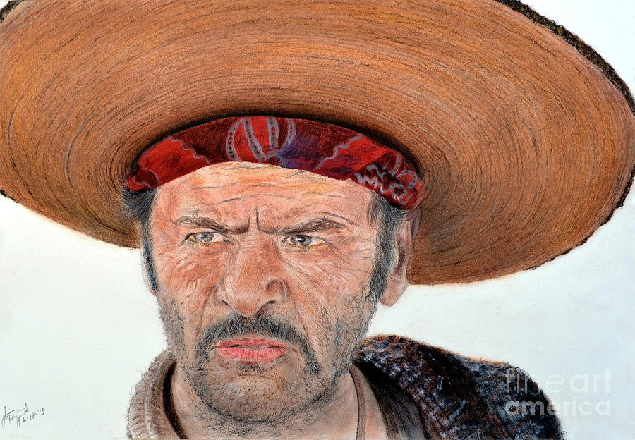 Jim Fitzpatrick Drawing - Eli Wallach As Tuco In The Good The Bad And The Ugly by Jim Fitzpatrick