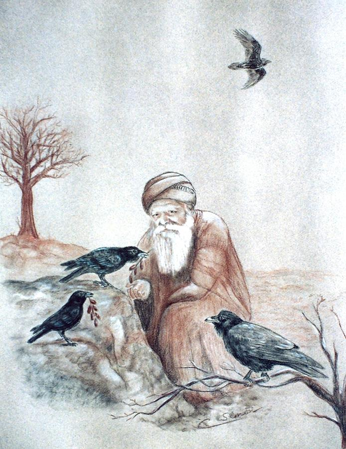Elijah Fed By Ravens Drawing by Cati Simon
