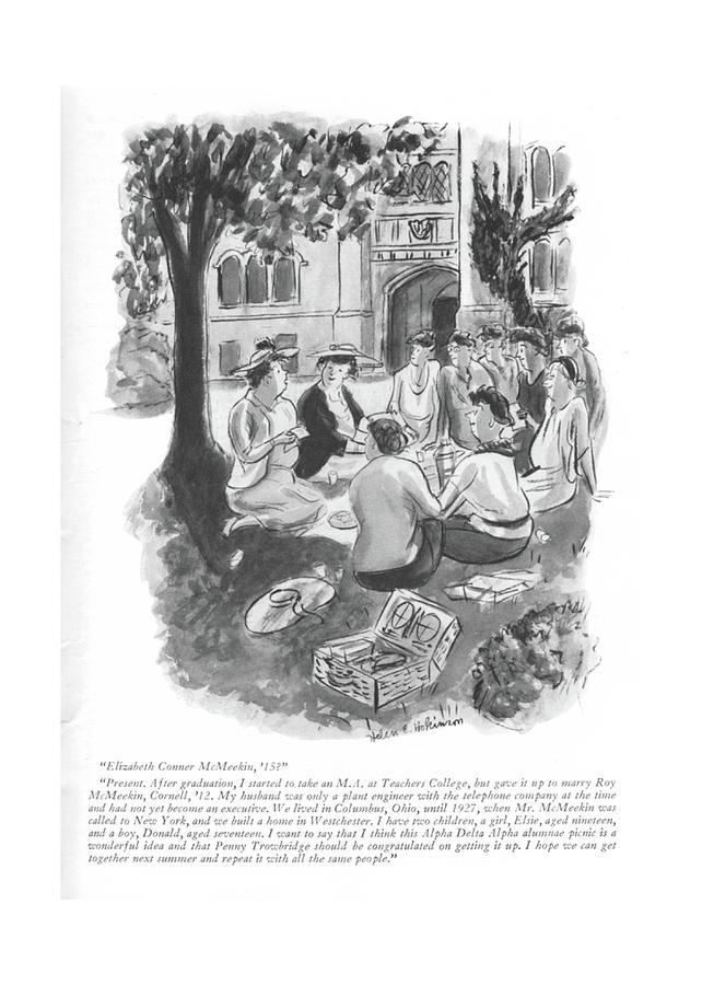 Elizabeth Conner Mcmeekin Drawing by Helen E. Hokinson
