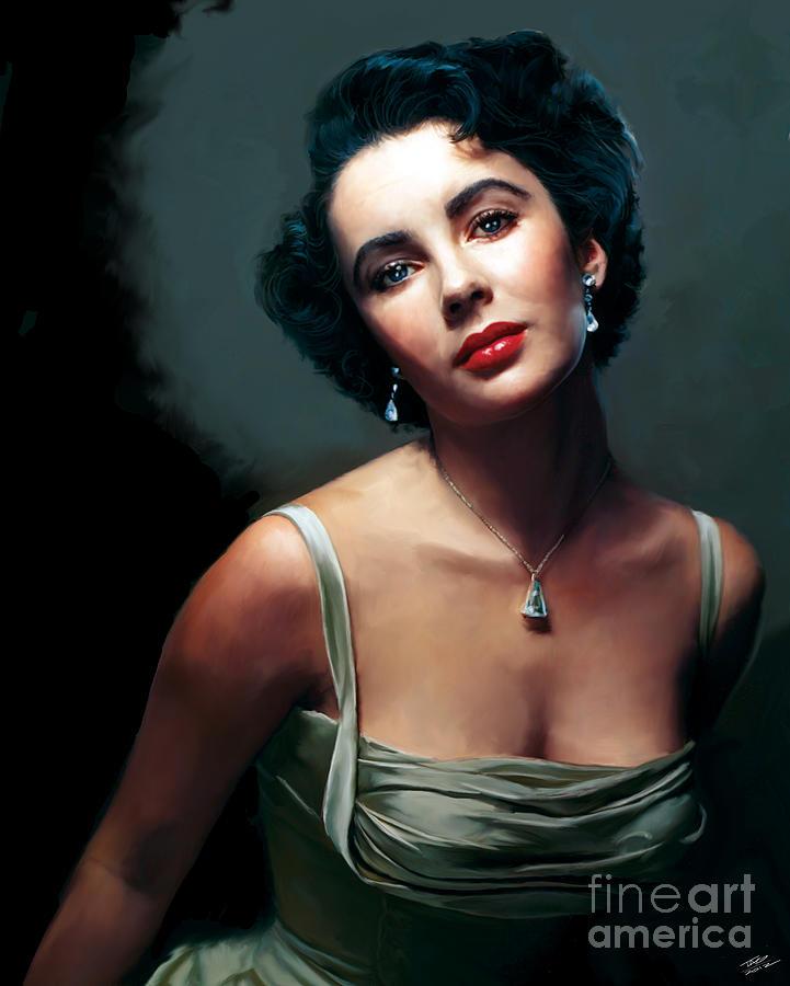 Elizabeth Painting - Elizabeth Taylor by Paul Tagliamonte