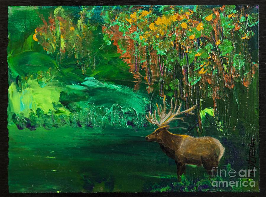 Elk Painting - Elk Fall by Tracy L Teeter