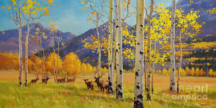 Elk Herd Painting - Elk Herd In Aspen Grove by Gary Kim