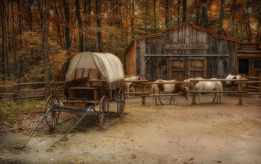 Ponies Photograph - Elk Horn Livery Stable by Robin-Lee Vieira