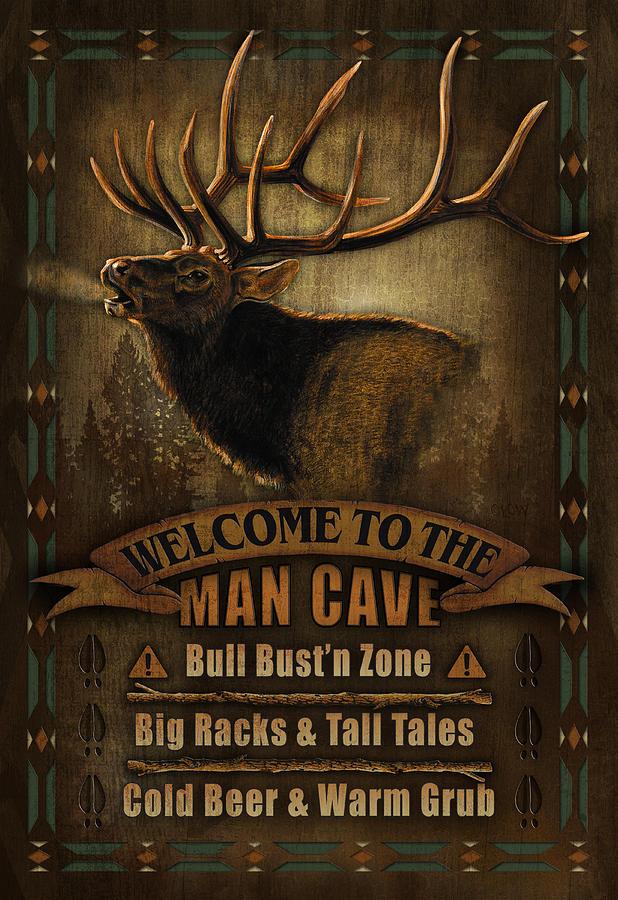 elk man cave sign painting by jq licensing. Black Bedroom Furniture Sets. Home Design Ideas