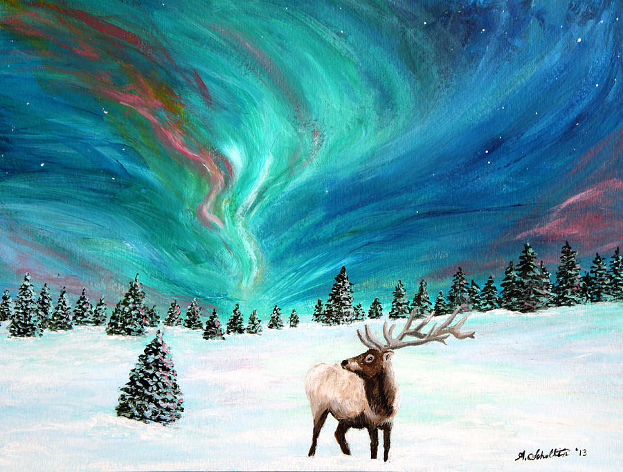 Elk Painting   Elk Under The Northern Lights By Amy Scholten