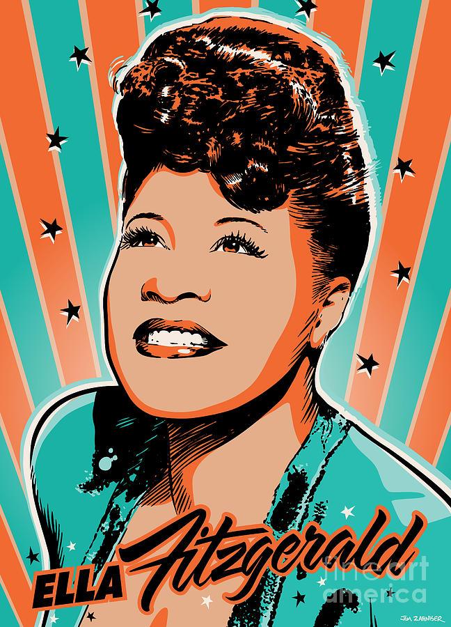 Show Business Digital Art - Ella Fitzgerald Pop Art by Jim Zahniser
