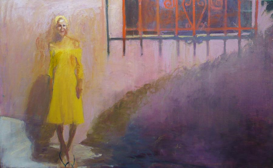 Yellow Dress Painting - Elle by Galya Tarmu