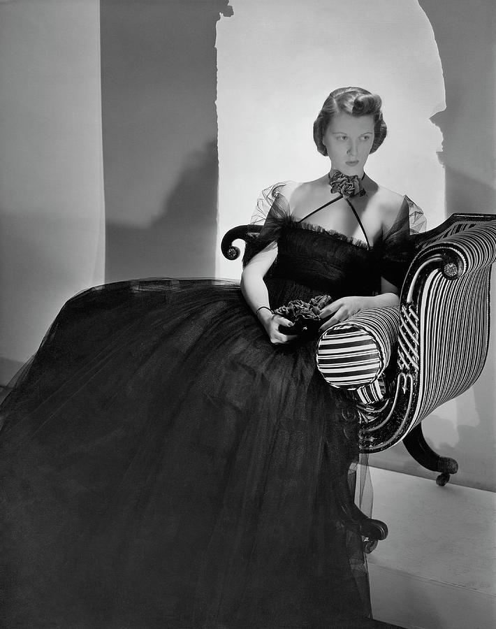 Ellen Astor Wearing A Tulle Dress Photograph by Horst P. Horst