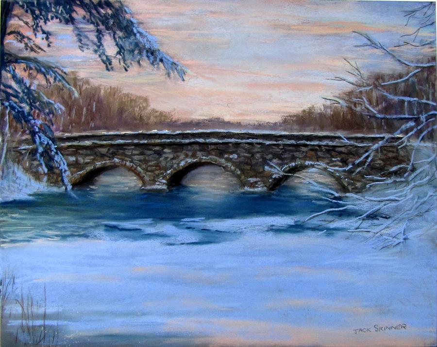 Winterscape Painting - Elm Street Bridge On A Winters Morn by Jack Skinner