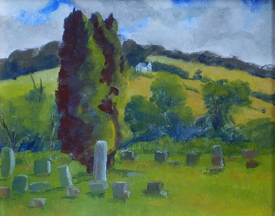 Landscape Painting - Elton Cemetary by Philip Hewitt