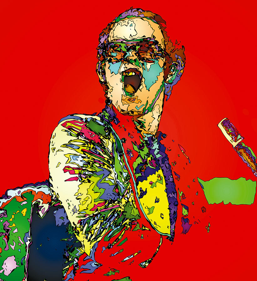 Elton John Painting - Elton in Red by John Farr