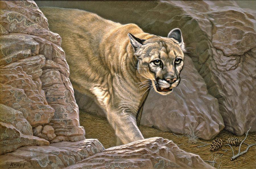 Wildlife Painting - Elusive Hunter - Cougar by Paul Krapf