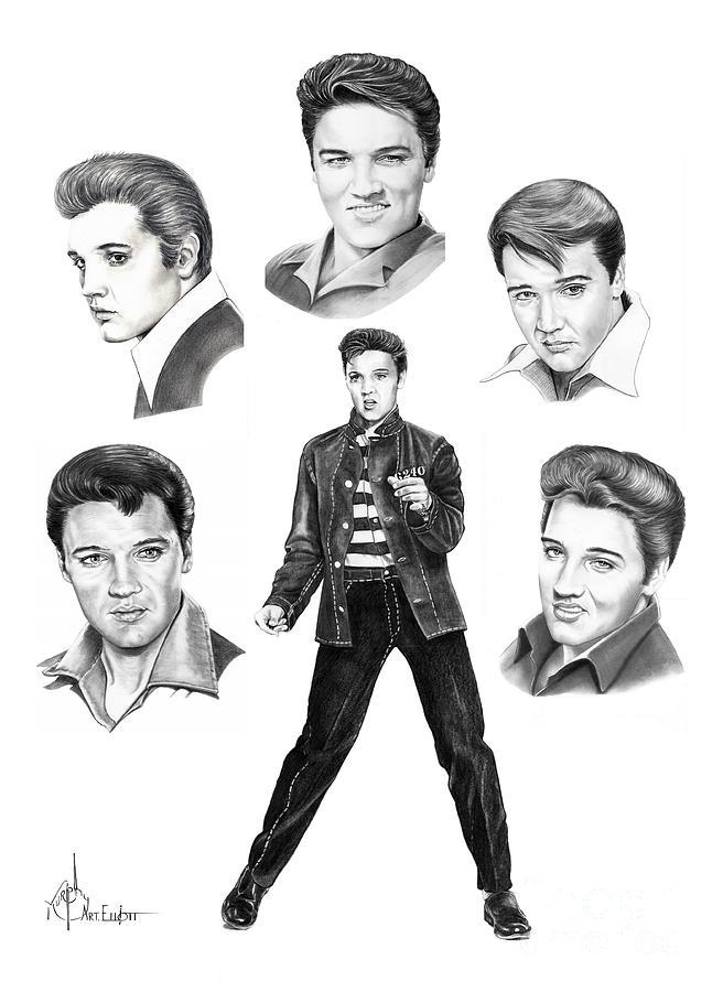 Pencil Drawing - Elvis Elvis Elvis by Murphy Elliott