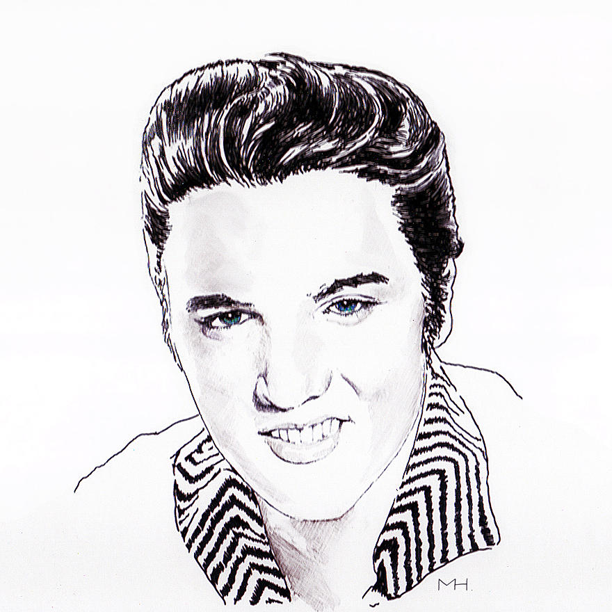 Portrait Drawing - Elvis by Martin Howard