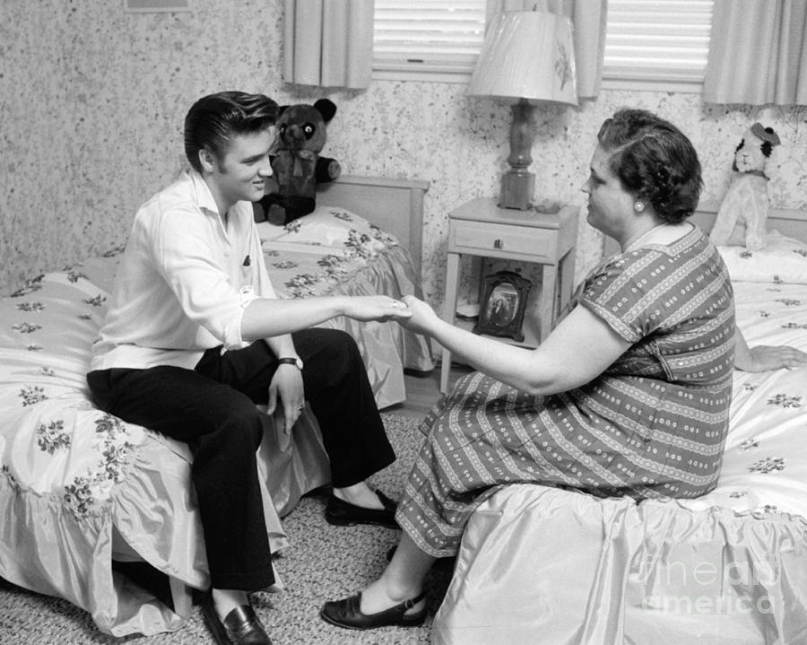 Elvis Presley And His Mother Gladys 1956 Cropped Photograph
